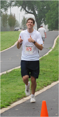 Jacob running a half marathon.